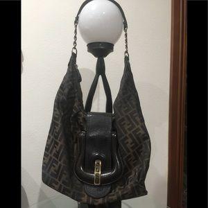 Authentic Fendi Brown Canvas/Leather FF Logo Bag